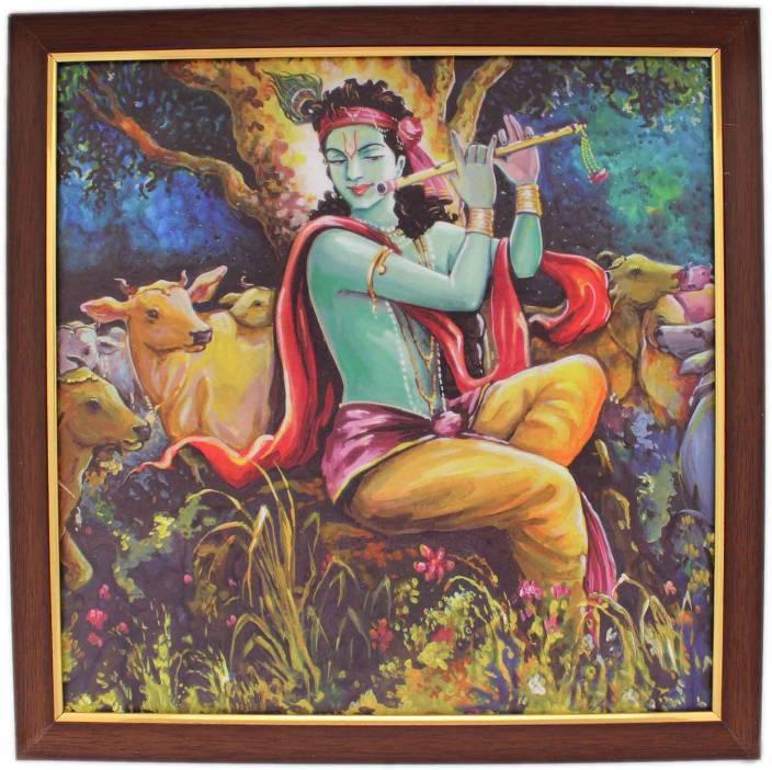 "Tootpado Devotional Canvas Lord Krishna Photo Frame 1b204 (12"" X 12"") Showpiece  -  12 cm"