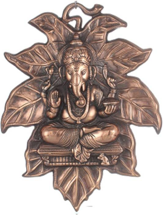 Apkamart Ganeshji Sitting on a Leaf 15 Inch Showpiece  -  38 cm