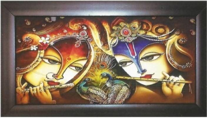 Wall Art Radha & Krishna with Flute & Peacock Photo Frame Showpiece  -  20 cm