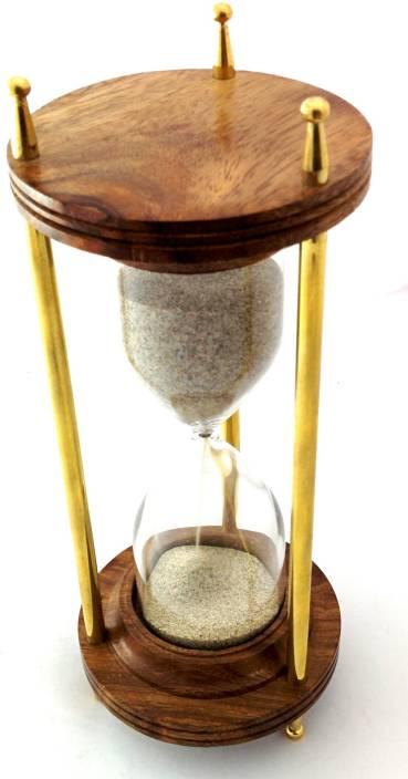 Artshai 10 Minute Wood And Brhourglsand Timer Decorative Showpiece 21 Cm Wooden Brown