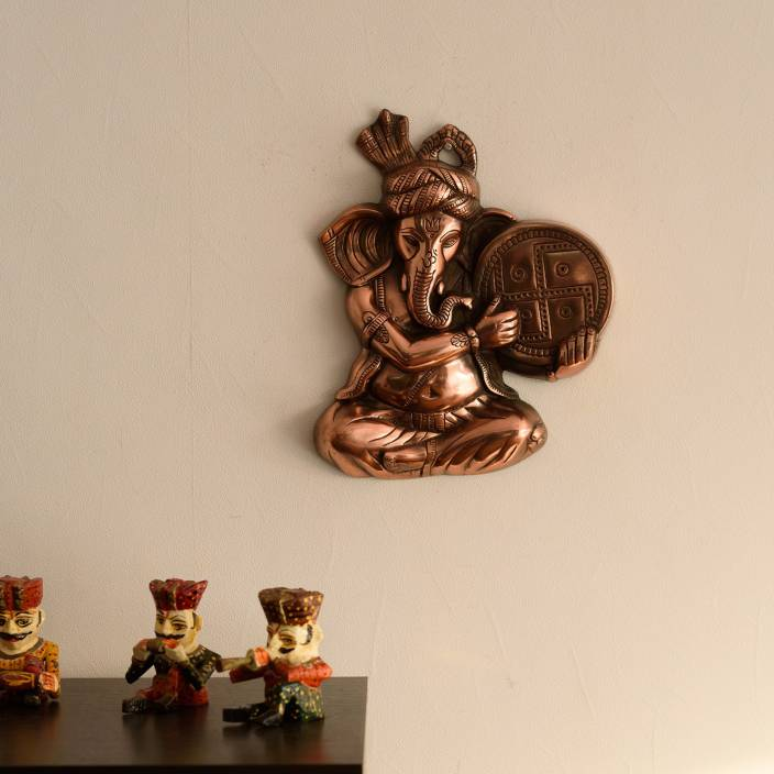 eCraftIndia Musician Phagdi Lord Ganesha Metal Wall Hanging Showpiece  -  33 cm
