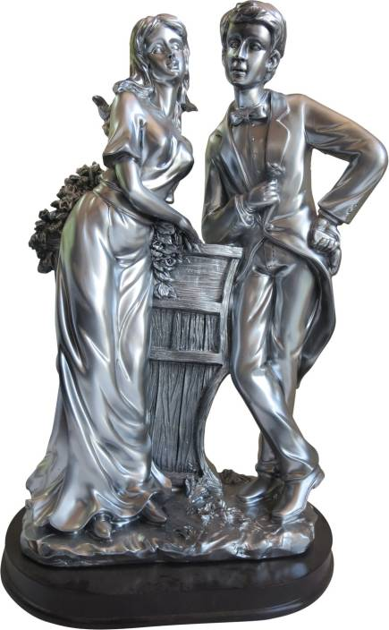 Hickoo Silver Finish With Wooden Base Love Couple Statue