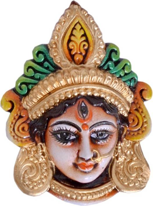 "Indigo Creativs Handcrafted Beautiful 6"" Terracotta Durga Mata Mukut Navratra Diwali Puja Door / Home Entrance / Wall Hanging Decoration Showpiece  -  16 cm"