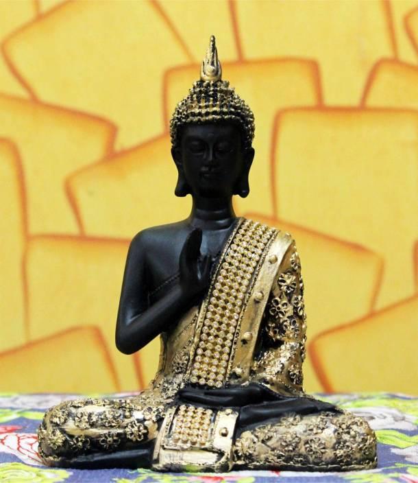 Craft Junction Beautiful Black Golden Blessing Buddha Showpiece  -  20 cm