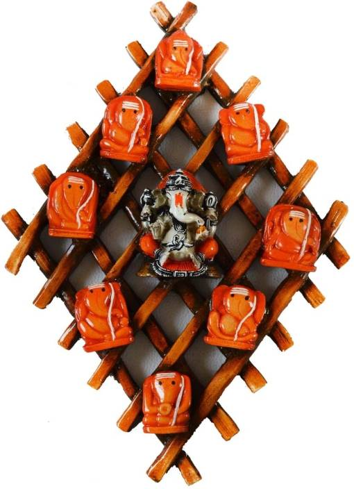 eCraftIndia Wooden Wall hanging with 9 variants of Lord Ganesha Showpiece  -  3.81 cm