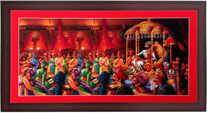 Bm Traders Classic Rajyabhishek Of Shivaji Maharaj In Brown Frame