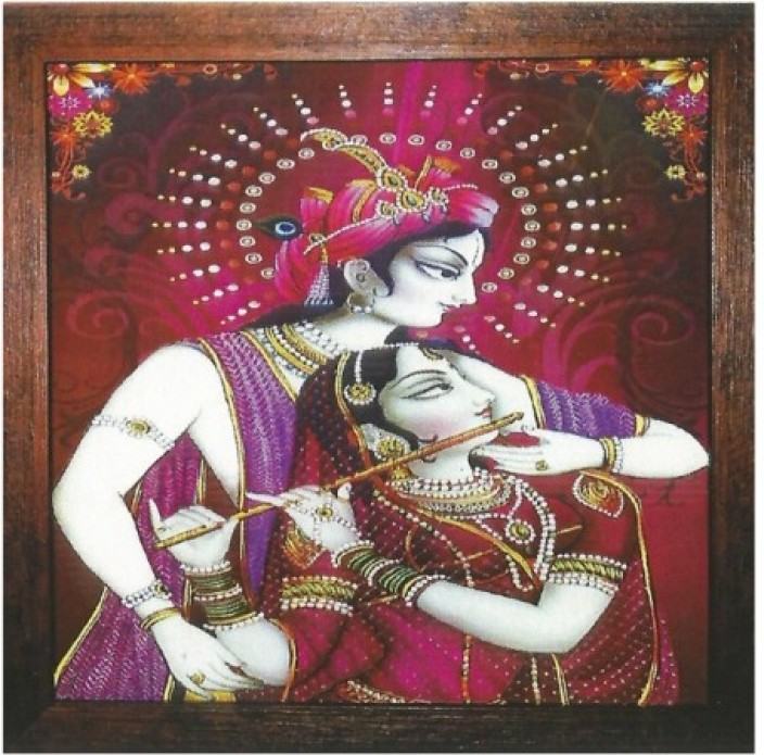 Wall Art Radha Krishna   Radha With Flute Photo Frame Showpiece   35 Cm Part 37