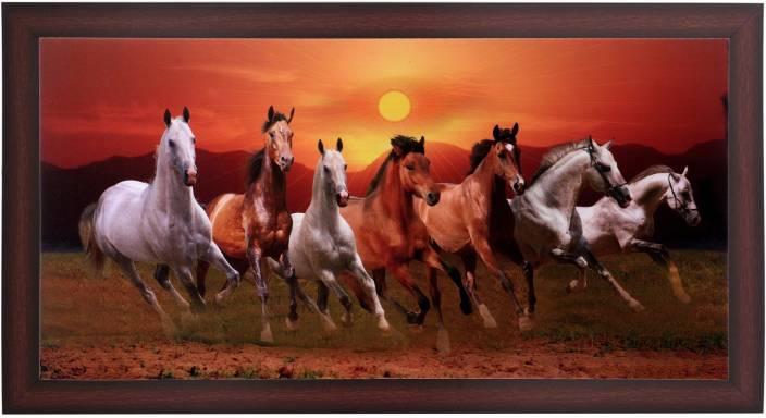 Bm Traders Running 7 Horses With Vastu Sunrise In Brown Frame