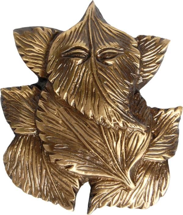 Aakrati Ganesha On Leaf Metal Handmade Wall Hanging Showpiece  -  8.89 cm