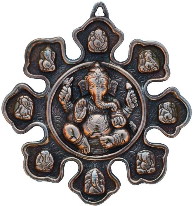 eCraftIndia Metal Wall hanging with 9 variants of Lord Ganesha Showpiece  -  22.86 cm