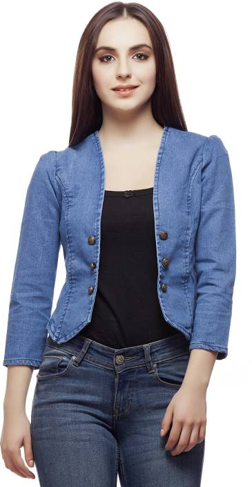Clo Clu 3/4th Sleeve Solid Women's Denim Jacket - Buy Blue Clo Clu ...