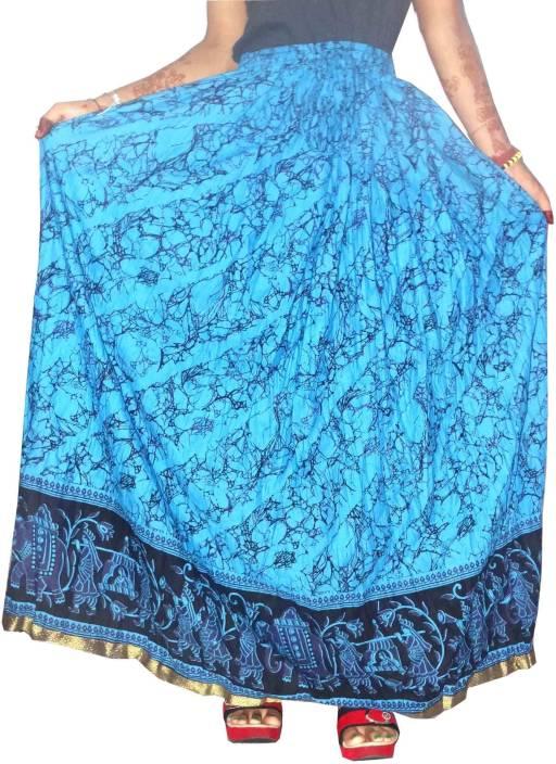 Jaipuri Bandhej Printed Women's Straight Blue Skirt