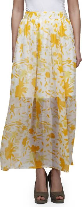 Cherymoya Printed Women's Gathered White Skirt