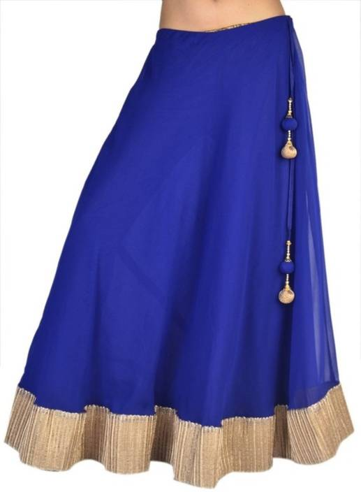 Crease & Clips Solid Women's Broomstick Blue, Gold Skirt