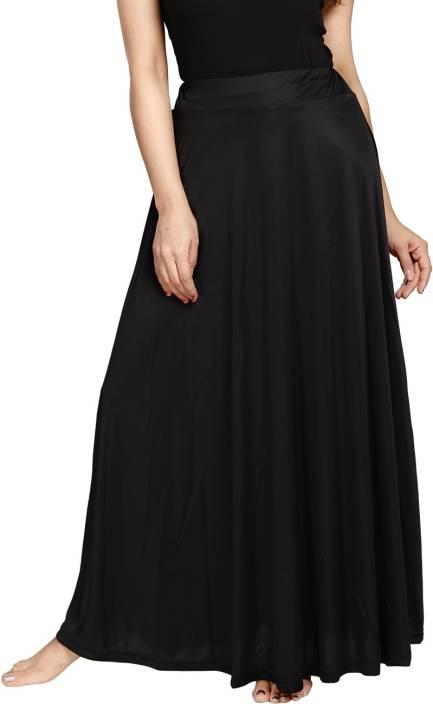 Be You Solid Women's Regular Black Skirt