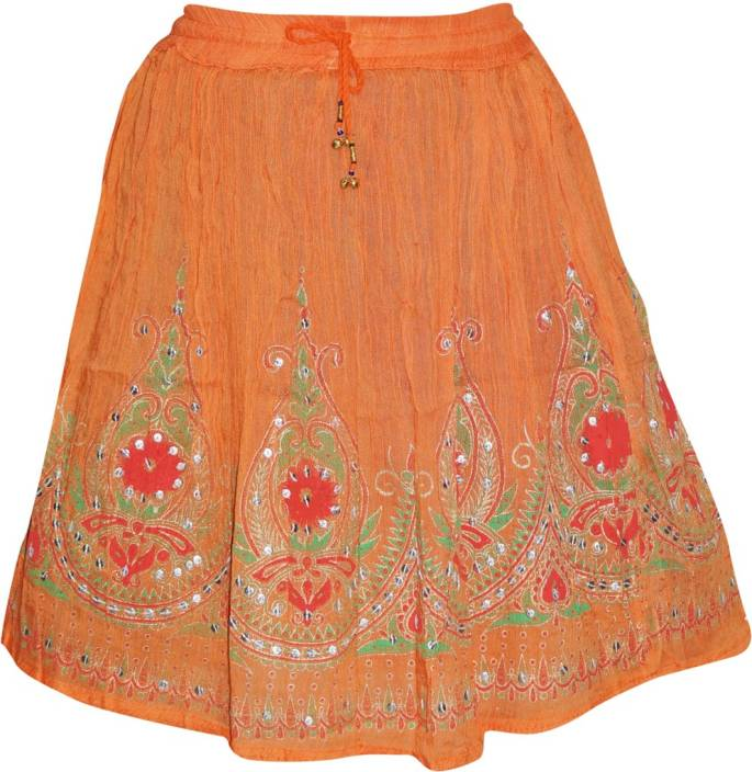 Indiatrendzs Embellished Women's A-line Orange Skirt