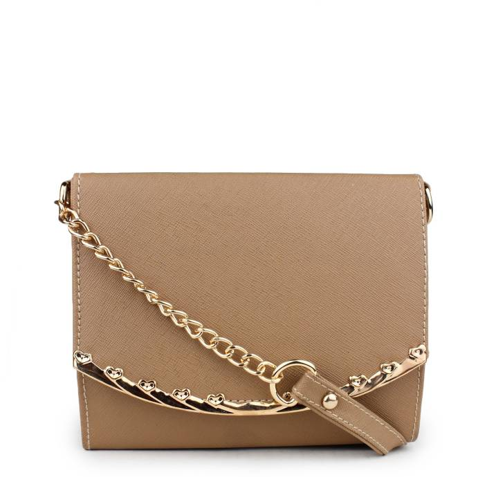 Do Bhai Women Beige Leatherette Sling Bag Beige - Price in India ...