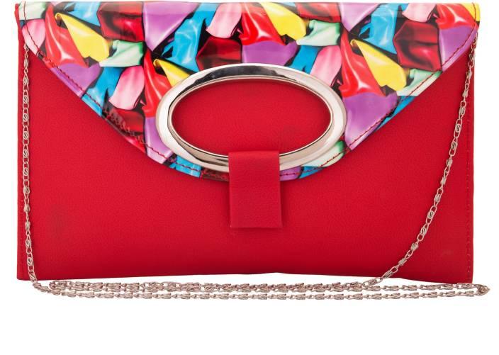 Solester Women Red PU Sling Bag