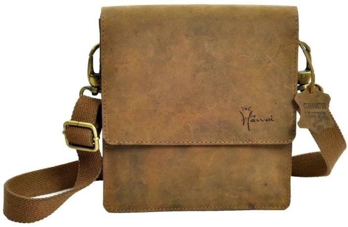 Hawai Men & Women Casual Tan Genuine Leather Sling Bag Tan-01 ...