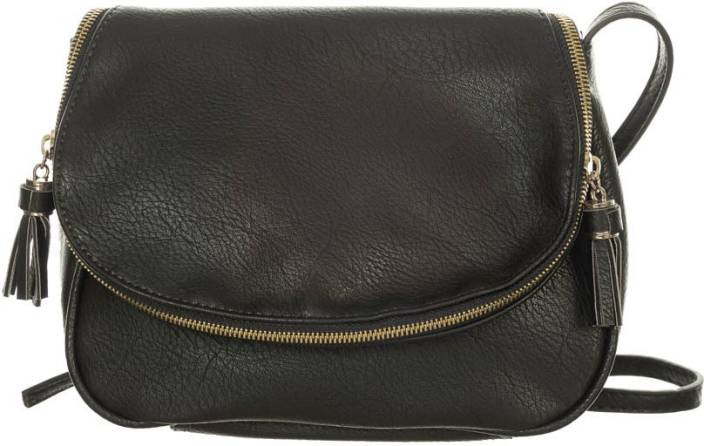 f29c5bf4a12 Di Grazia Women Black Genuine Leather Sling Bag Royal Black - Price in India    Flipkart.com