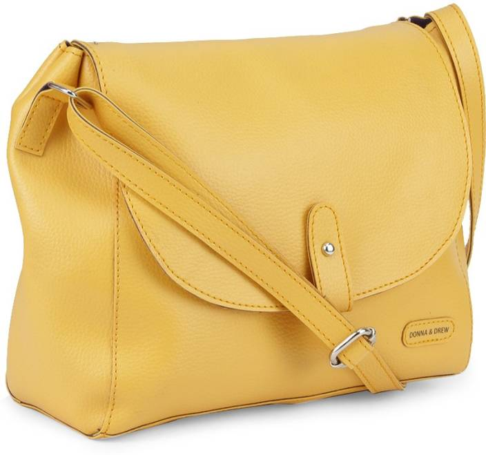 Donna & Drew Women Yellow PU Sling Bag Yellow - Price in India ...