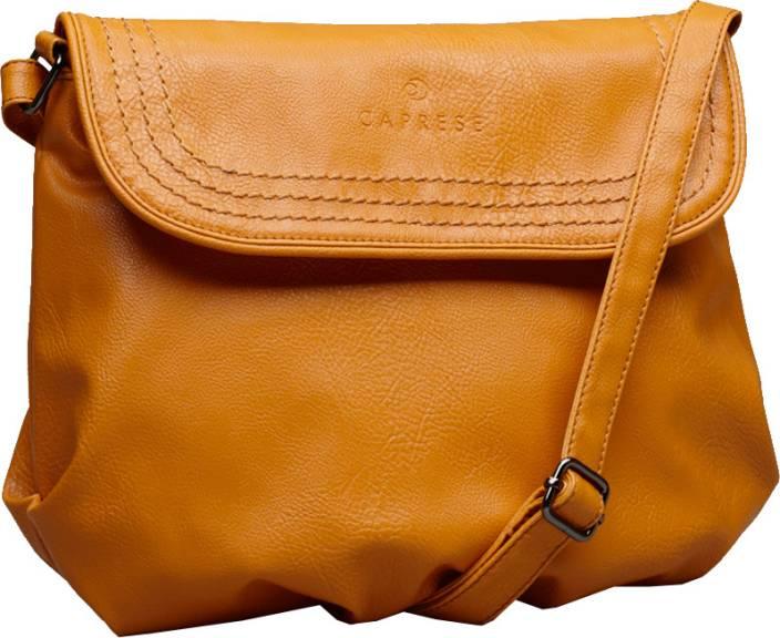 Caprese Women Casual Orange PU Sling Bag Ochre - Price in India ...