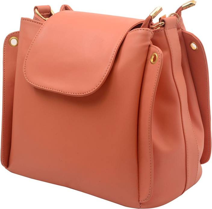 Deniza Girls Pink Leatherette Sling Bag PEACH - Price in India ...