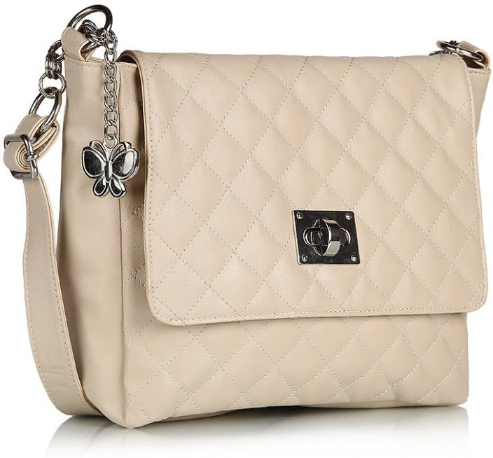 Butterflies Women Casual Beige PU Sling Bag Cream - Price in India ...