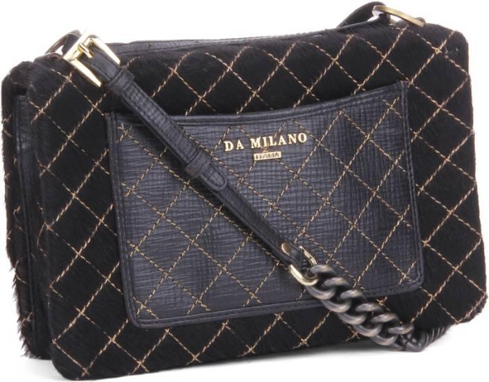 be189f95317 Da Milano Women Casual Sling Bag BLACK - Price in India