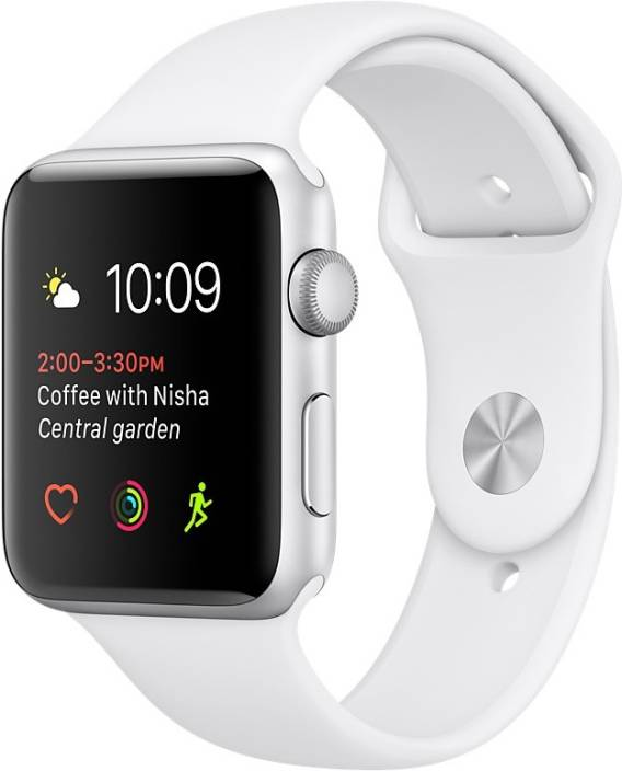 Apple Watch Series 1 - 42 mm Silver Aluminium Case with White Sport Band  (White Strap Medium)