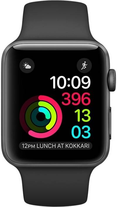 4ebc20216ba6 Apple Watch Series 2 - 38 mm Space Gray Aluminum Case with Black Sport Band  (Black Strap Medium)