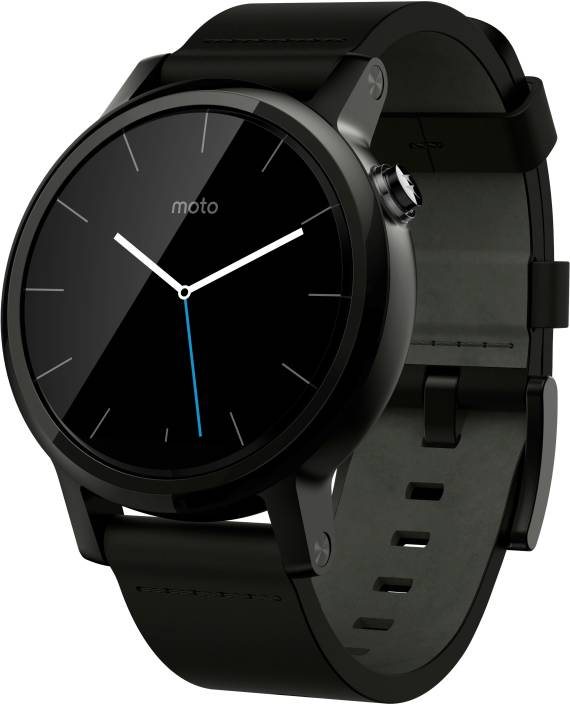 Motorola Moto 360 2nd Gen (42 mm) for Men Black Leather ...