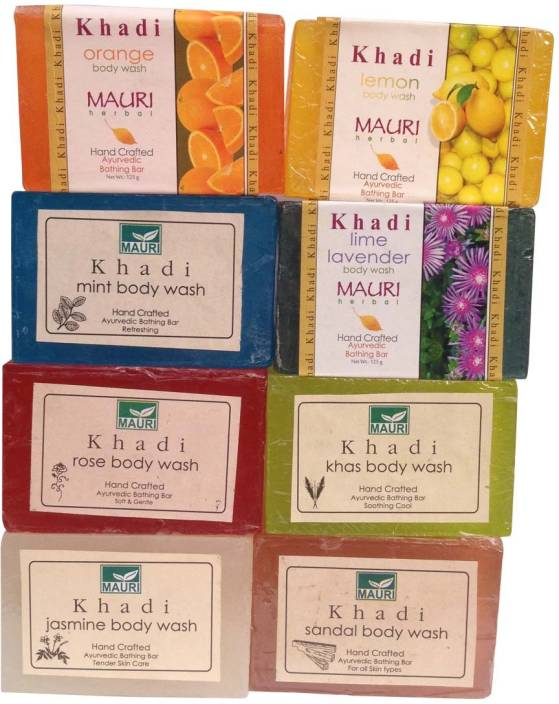 Bar Soaps United Khadi Natural Orange Soap Handmade Herbal Bathing Bar Ayuverdic 125gm set Of 4 Health & Beauty