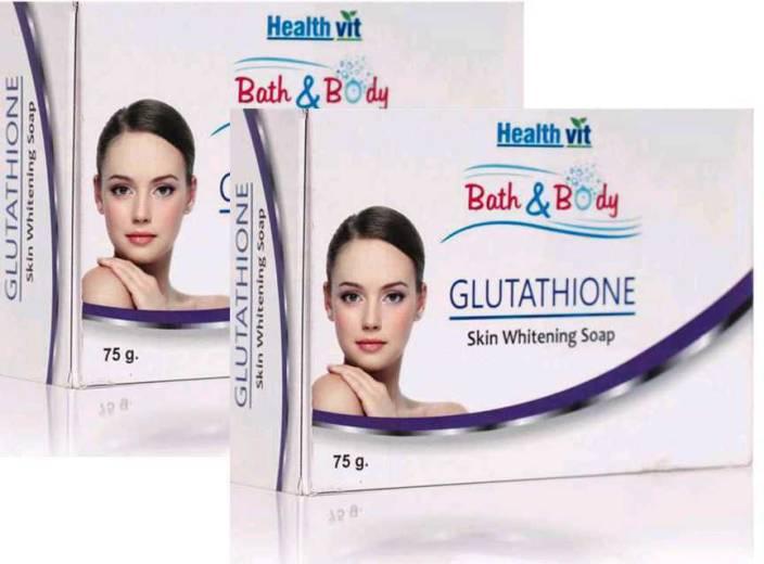 HealthVit Bath & Body Glutathione Skin Whitening Soap 75g -Pack of 2