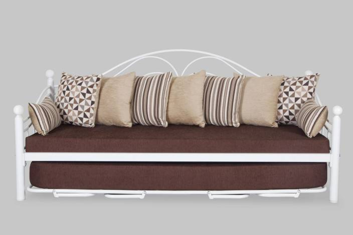 49367c2e548b FurnitureKraft DB8101 with Brown Mattress Single Metal Sofa Bed (Finish  Color - White Mechanism Type - Pull Out)