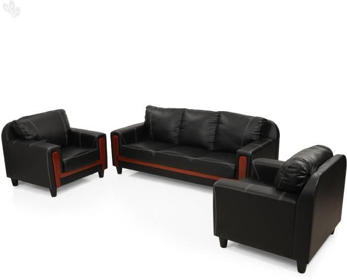 5ec246f85e2 RoyalOak Aqua Leatherette 3 + 1 + 1 Black Sofa Set Price in India - Buy  RoyalOak Aqua Leatherette 3 + 1 + 1 Black Sofa Set online at Flipkart.com