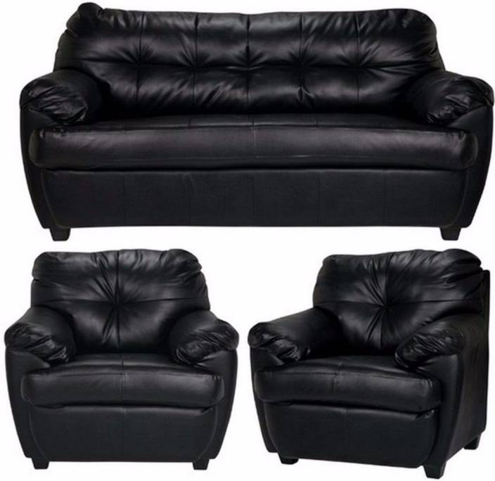 Furny Rosabelle Comfy Leatherette 3 + 1 + 1 Black Sofa Set