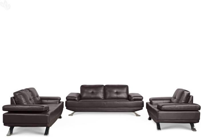 Royaloak Royal Leatherette 3 2 1 Brown Sofa Set