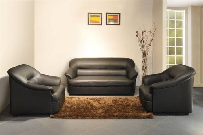 Spacewood Leatherette 3 1 Black Sofa Set