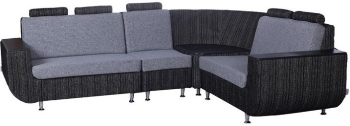 Kurlon Nova Fabric 3 + 2 + 1 Black::White Sofa Set