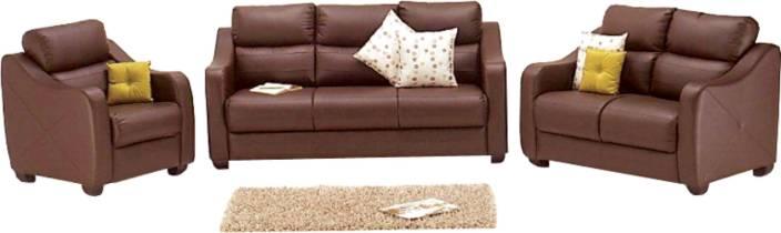 Godrej Interio Vida Sofa Set Leatherette 3 2 1 Burgundy Sofa Set