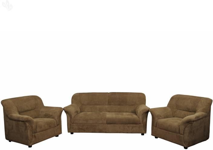 Zuari Fabric 3 + 1 + 1 Brown Sofa Set