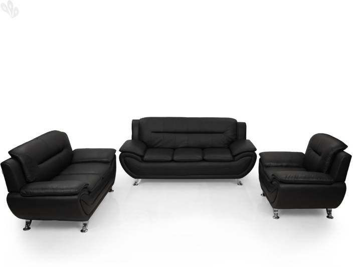 Royaloak Leatherette 3 2 1 Black Sofa Set Price In India Online At Flipkart