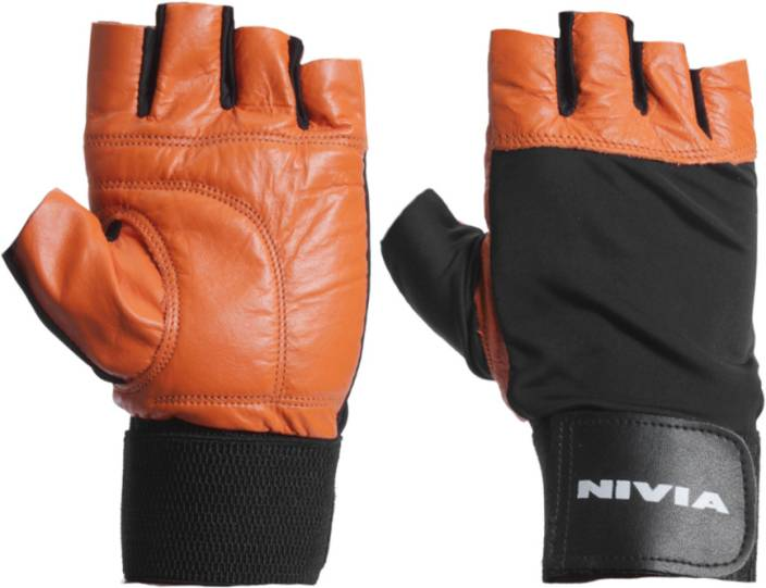 Nivia Leather Gym Fitness Gloves with Wrist Wrap