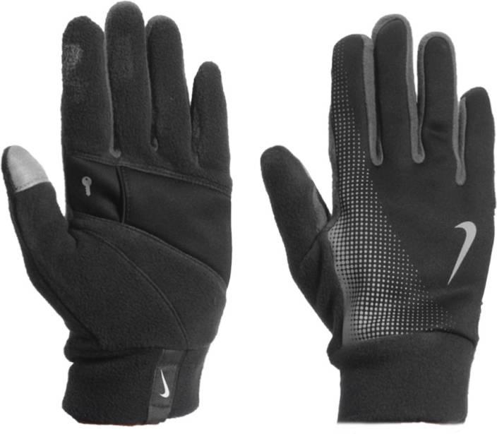 Nike Thermal Gloves: Nike Thermal Running Gloves (M, Black, Black)