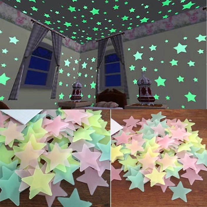 Stickonn Small Multi Colour Fluorescent Glow In The Dark Star Wall Sticker  Sticker Part 77