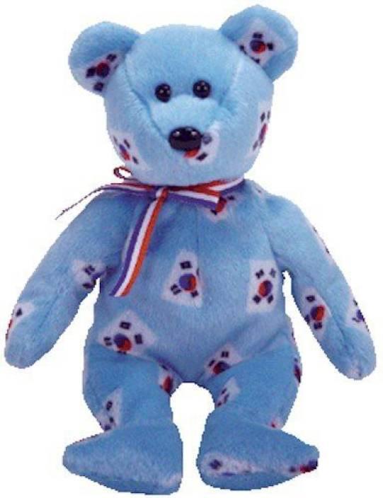 2834532405f TY Beanie Babies Korea The Bear (Flag Pattern Version Korea - 12 inch (Blue)