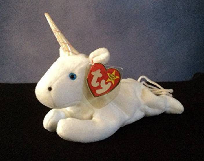 4146388007f TY Beanie Babies Mystic The Unicorn With Iridescent Horn - 30 cm (White)