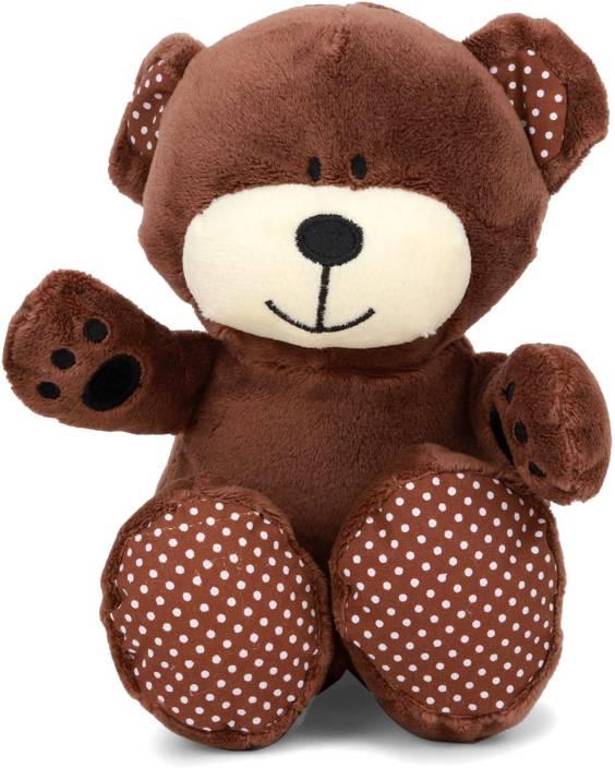 Starwalk Bear Plush Dark Brown with Polka Dotted Ears  - 20 cm
