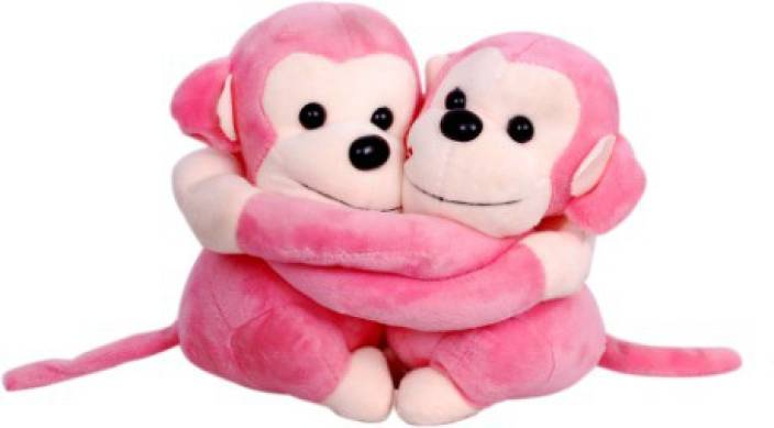 Bubble Hut Monkey Couple Pink Soft Toy 24 Cm Monkey Couple Pink
